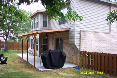 Pour patio build patio cover